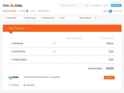 Finanzen bei der ING-DiBa: Girokonto, Extra-Konto, Direktdepot