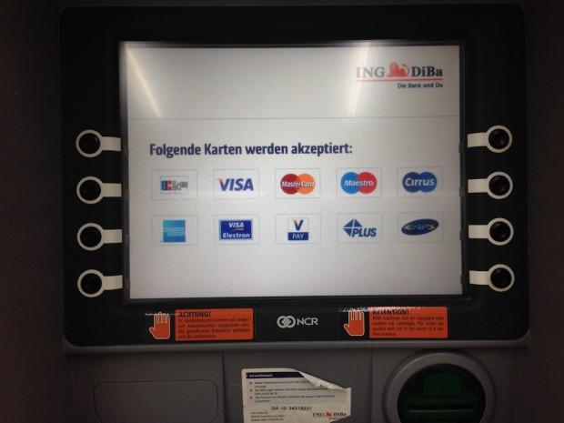 Geldautomat ING-DiBa Screen