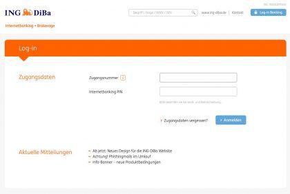 ING-DiBa Login Online Banking