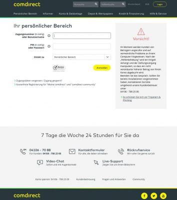 comdirect Bank Online Banking