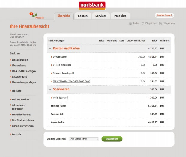 norisbank Demokonto Übersicht (Quelle: norisbank.de)