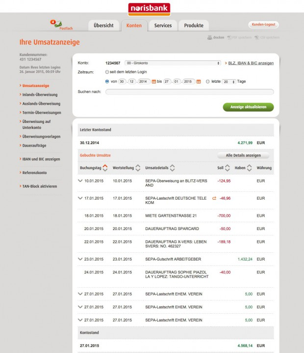 norisbank Girokonto Demo (Quelle: norisbank.de)