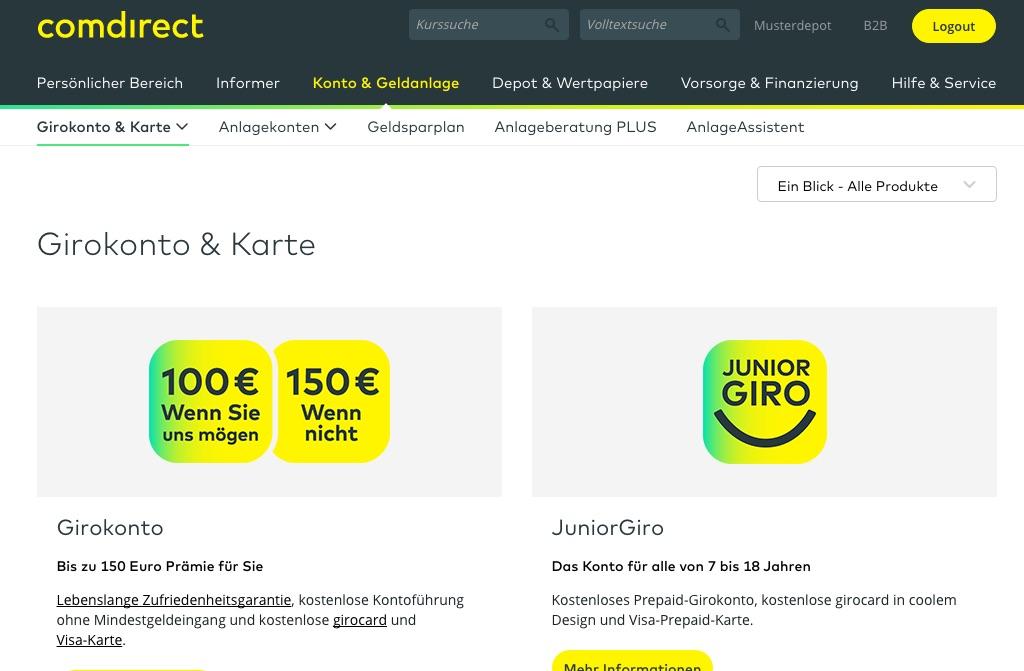 comdirect Design Online Banking