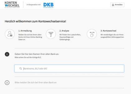 Kontowechselservice DKB über FinReach