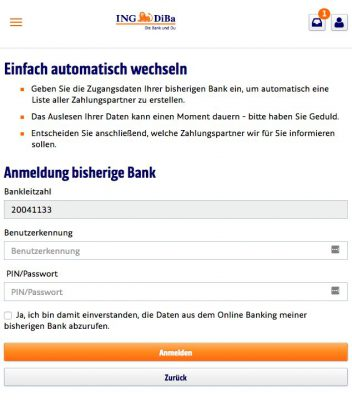 Kontowechsel ING-DiBa Konto-auslesen