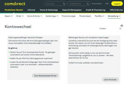 Kontowechsel-Service comdirect-Portal