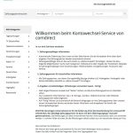 Kontowechsel-Service comdirect: Zahlungspartner auswählen und automatisch durch comdirect informieren lassen