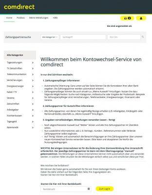 Kontowechsel-Service comdirect Zahlungspartner