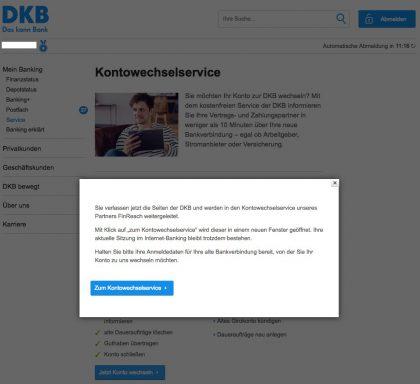 Kontowechselservice DKB Finreach