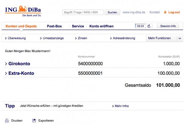 Online Banking am Beispiel der ING DiBa