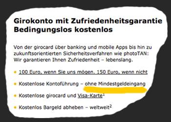 Kostenloses Girokonto mit Kreditkarte und ohne Mindestgeldeingang