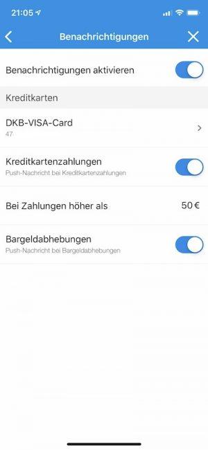 DKB-Visa-Karte sicherer machen über die DKB-App: Benachrichtigungen einstellen