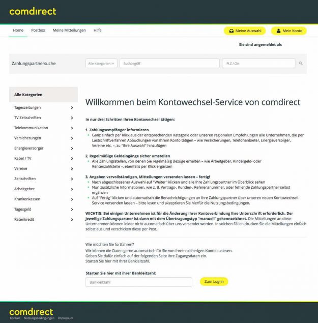 Kontowechsel Portal comdirect Bank