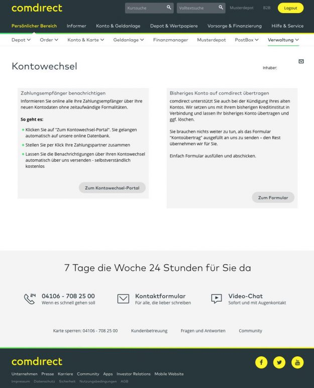 Kontowechsel Service comdirect Bank