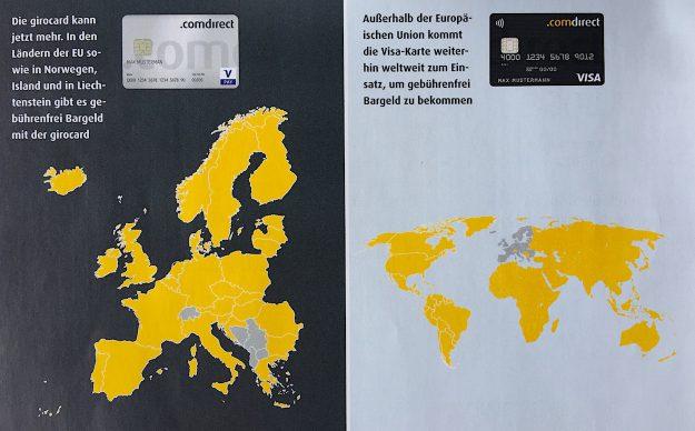 Girocard Kreditkarte Comdirect Bank Bargeld abheben