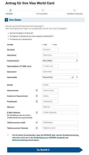 ICS Visa Kreditkarte Antrag: Im ersten Schritt die di persönlichen Daten angeben