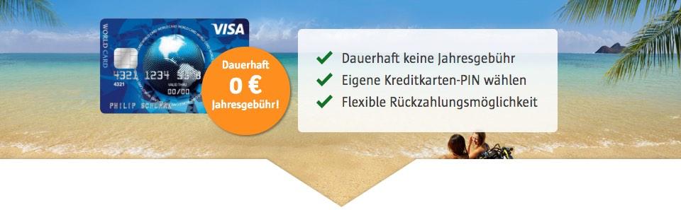 Kostenlose Kreditkarte ICS Visa World Card von visaworldcard.de