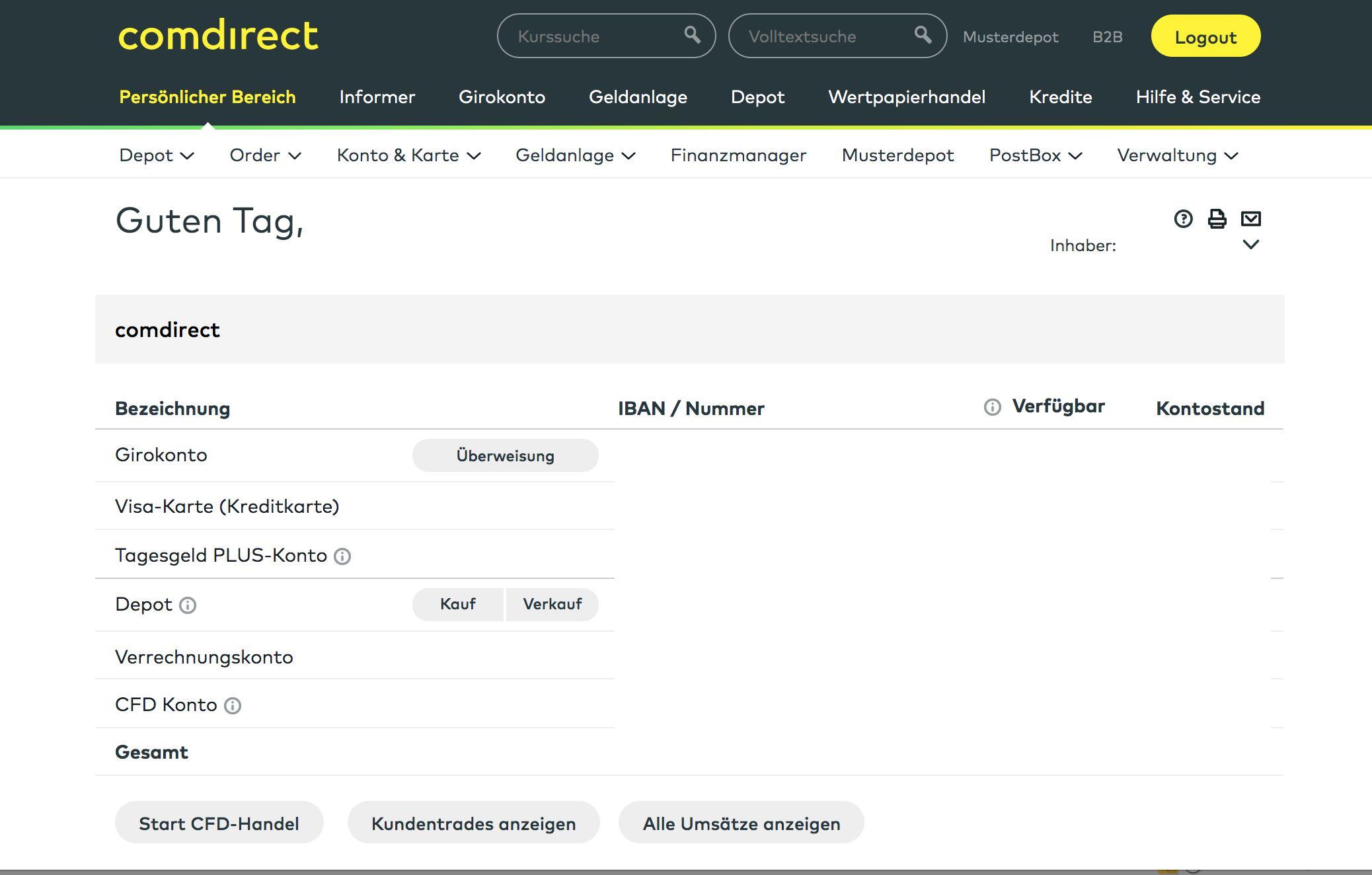 Comdirect Girokonto Online-Banking