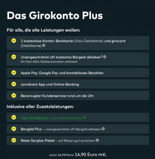 Girokonto Plus Comdirect Premium Girokonto (Quelle: Comdirect.de)