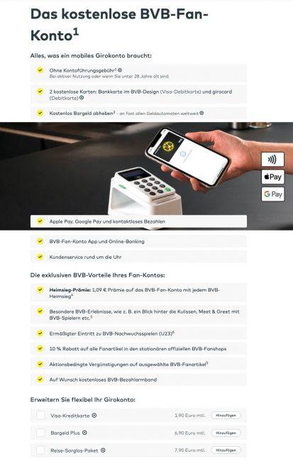 Kostenloses BVB-Fan-Konto Comdirect Girokonto (Quelle: Comdirect.de)