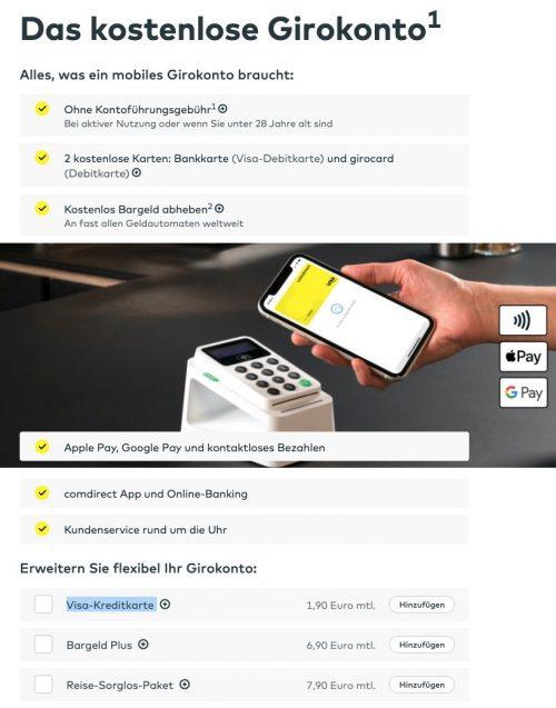 Kostenloses Girokonto Comdirect Mobiles Girokonto (Quelle: Comdirect.de)