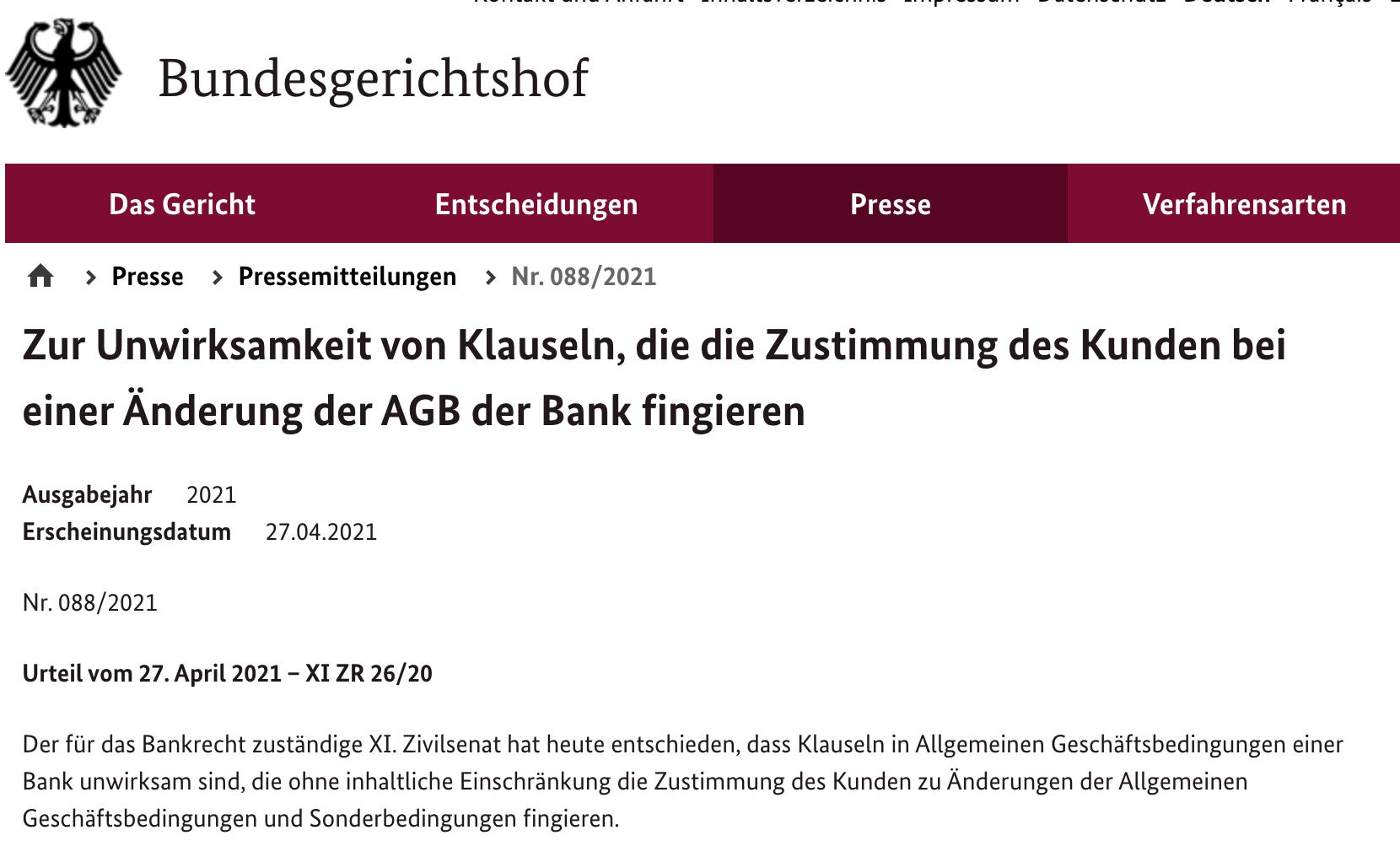 BGH-Urteil-Bundesgerichtshof-Banken-Kontogebühren-AGB